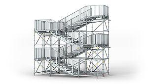 PERI UP Rosett Openbare trap: De trapgeometrie en de opstelling van de overlopen voldoen aan de eisen voor publieke toegang.