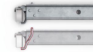Der integrierte Bügel des Belags untergreift den rechteckigen Riegel und sichert damit die Belagsposition.