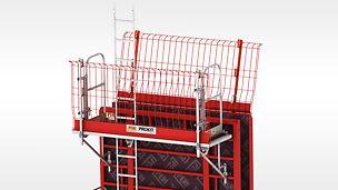 Das Konsolensystem MXK bietet hohe Sicherheit bei geringem Montageaufwand. Die leichten Systembauteile lassen sich am Boden per Hand vormontieren.