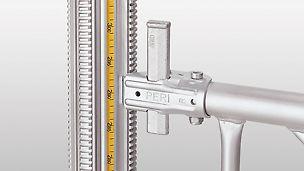 Det indbyggede målebånd sikrer nøjagtig justering uden tidskrævende opmåling og unødvendig efterjustering