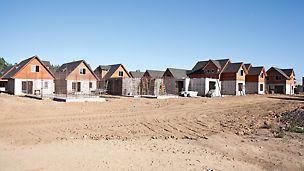 Bau der Wohnsiedlung Los Portones de Linares, Chile