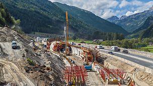 Tunel na dálnici A10, Zederhaus, Rakousko: Projekt řešení tunelového bednění ze systému VARIOKIT umožnil po krátké době výstavby přesunutí části dálnice přes Taury, v délce 1 545 m, do tunelu.