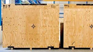 Packaging products: PERI Bintangor Plywood Panels, Elliottis Pine C+/C WBP Plywood for universal applications
