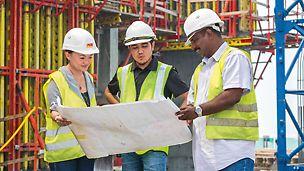 Унікальний PERI Сервіс - професійна підтримка на будівельному майданчику з боку керівників і менеджерів проектів.