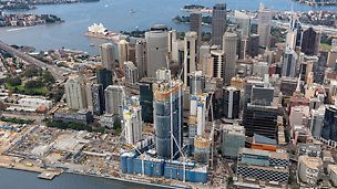 Barangaroo South, Sydney - With the Barangaroo Point Reserve (North), Central Barangaroo and Barangeroo South sub-projects, Sydney´s city centre is being expanded westwards by an impressive 22 hectares. In the foreground is the three ITS high-rise towers are rising steadily upwards; in the background is the famous Sydney Opera House with its distinctive roof structure.