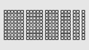 Die DUO Basispaneele sind 1,35 m hoch. Mit 6 verschiedenen Breiten sind Anpassungen im  15-cm-Raster machbar.