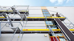 "The new PERI UP scaffolding system is a ""lightweight"" among steel facade scaffoldings, and, in addition, it provides a high level of safety in the system: the guardrail for the next level is installed together with the Easy* Frame from the lower scaffolding level without requiring any additional components."