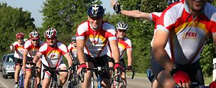 PERI employees on a cycling tour