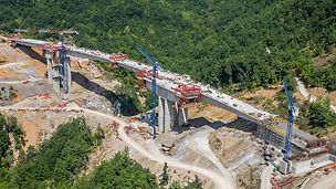 On the first section through the mountainous region of western Northern Macedonia, the new motorway crosses a total of 14 viaducts. On a length of approx. 10 km, around 4,000,000 m³ of earth had to be excavated and a total of 150,000 t of concrete and 15,000 t of reinforcement were subsequently processed.