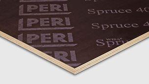 PERI Spruce 400 multiplexplaat, de dikke coating van 400 g/m² met filmlaag aan beide zijden geeft het beton een bijna gladde afwerking