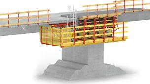 VARIOKIT Gesimskappensysteme: Speziell für kurze Brücken und Sanierungen ist die VARIOKIT Gesimskappenkonsole mit einer geschlossenen Bühne eine sichere und saubere Lösung.