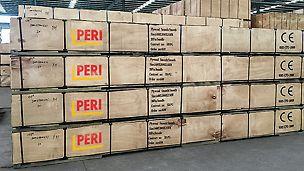 PERI Logistikzentren sichern weltweit die termingerechte Anlieferung auch großer Materialmengen. Kleinere Mengen sind in lokalen Lagern vorrätig.