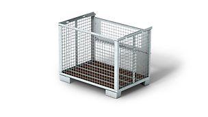 Die Gitterbox zum Transportieren schwer stapelbarer Teile ist lackiert oder verzinkt verfügbar. Die zulässige Tragfähigkeit beträgt 1,5 t.