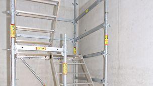 Umsetzung ohne zusätzliche Beläge mit Kombielementen der Gerüsttrepe UAS Serie.