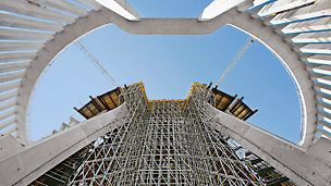 PERI scaffolds can be used for a wide variety of applications. Regardless whether it is frame or modular scaffold, the great flexibility leads to a high level of material utilisation.