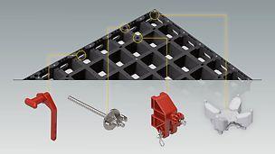 Die kassettenförmige Trägerlage ermöglicht den schnellen, einfachen Anschluss der DUO- Verbindungs- und Befestigungsteile.