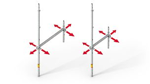 The graphic shows the two available PERI UP Easy frames with 67 cm and 100 cm system widths respectively.