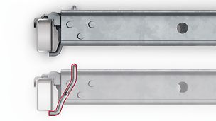The integrated clamp engages the rectangular ledger and thus secures the position of the decking.