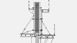 Neue Artikel für das SCS Klettersystem: Neue Artikel für das SCS Klettersystem: Das SCS Klettersystem wurde um den zweihäuptigen (geankerten) Einsatz erweitert. Es wurden Zubehörteile entwickelt, die es ermöglichen, die Konsole SCS 250 und SCS 190 bis zu einer Schalungshöhe von 6,00 m einzusetzen.