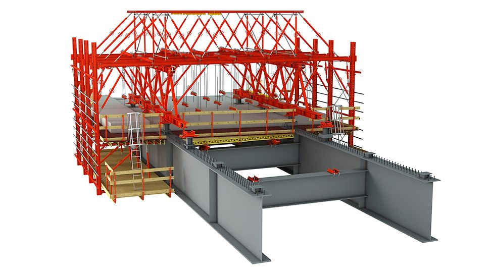 VARIOKIT Verbundbrückensysteme: Der aus mietbarem Standardmaterial bestehende Schalwagen wird den geometrischen und statischen Randbedingungen optimal angepasst und bildet dadurch eine sehr wirtschaftliche Lösung.