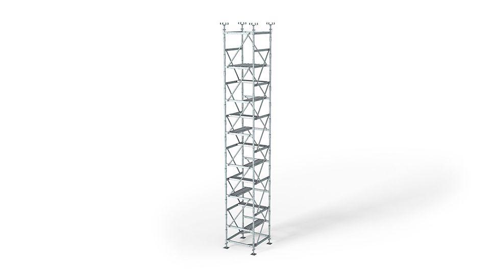 Podpěrná věž ST 100: Racionální podpěrné lešení jako rámová podpěra s malým množstvím systémových dílů.