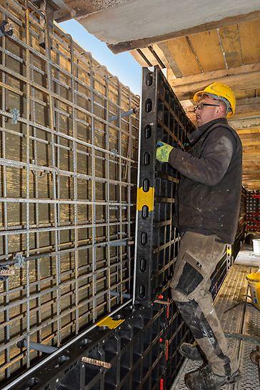 DUO Schalungselemente sind sehr leicht und besonders handlich. Alle Bauteile wiegen weniger als 25 kg und sind damit ideal für das Bauen im Bestand geeignet.