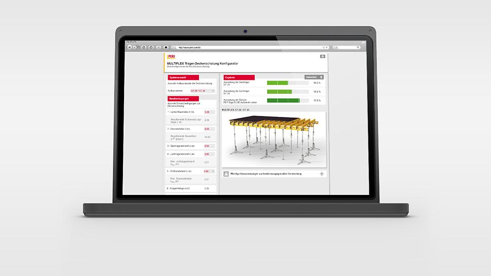Aplicația de configurare a sistemului de cofrare planșee MULTIFLEX pentru optimizarea rapidă și ușoară a distanței dintre grinzi și popii de susținere.