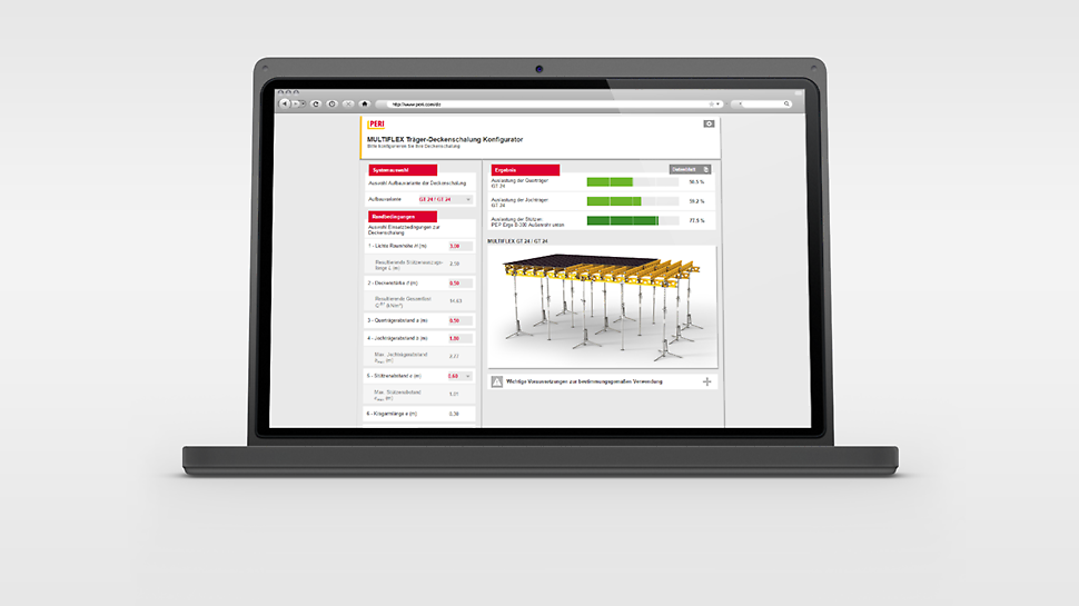 Pomocou aplikácie PERI MULTIFLEX konfigurátor sa dajú rýchlo a presne optimalizovať dovolené vzdialenosti medzi nosníkmi a podpernými stojkami.