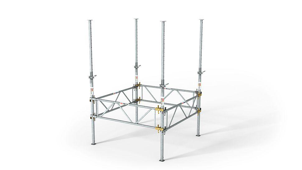 Als Aufstellhilfe lässt sich neben dem Dreibein auch der PRK Rahmen verwenden.