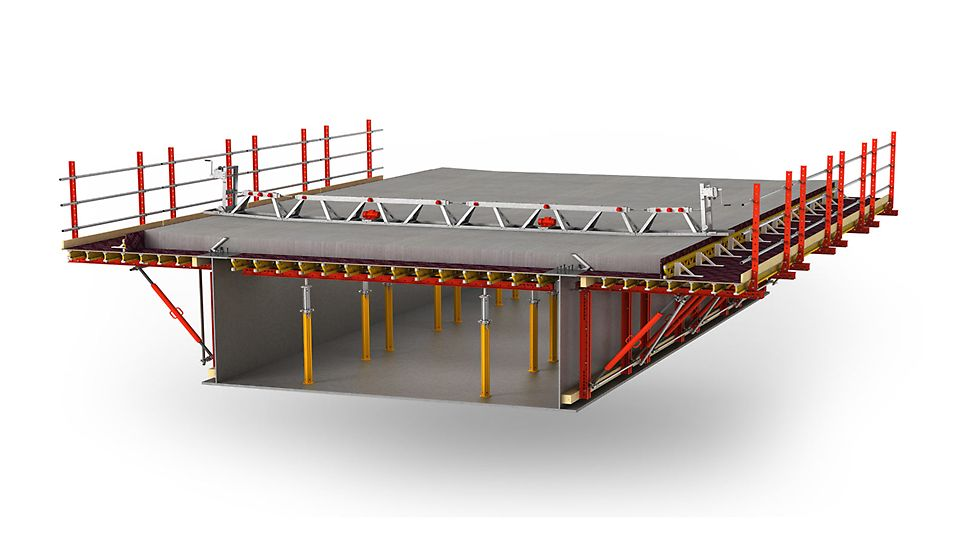 Scaffold free cantilever formwork for steel composite and precast