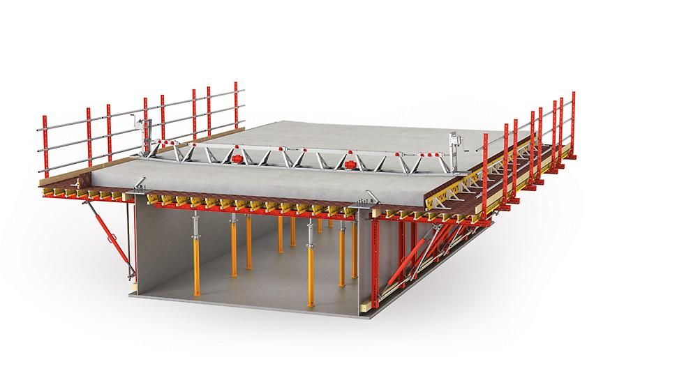 Encofrado libre de andamios, para puentes mixtos de hormigón-acero o puentes prefabricados de hormigón.