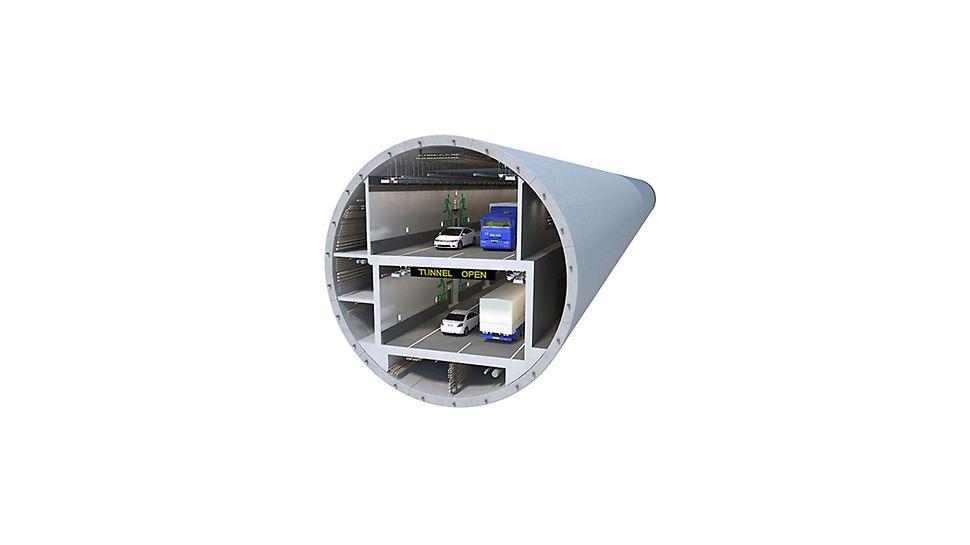 Innerhalb der gebohrten Tunnelröhre mit rund 17,50 m Durchmesser entsteht ein doppelstöckiger Straßentunnel – größtenteils hergestellt in Ortbetonbauweise mit einer umfassenden PERI Lösung. (Rendering: Washington State Department of Transportation)