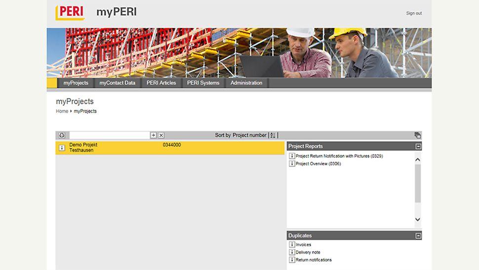 In myPERI vindt de klant al zijn actieve PERI bouwplaatsen terug. Nuttige rapporten en kopieën van belangrijke documenten betreffende de bouw worden er bewaard.