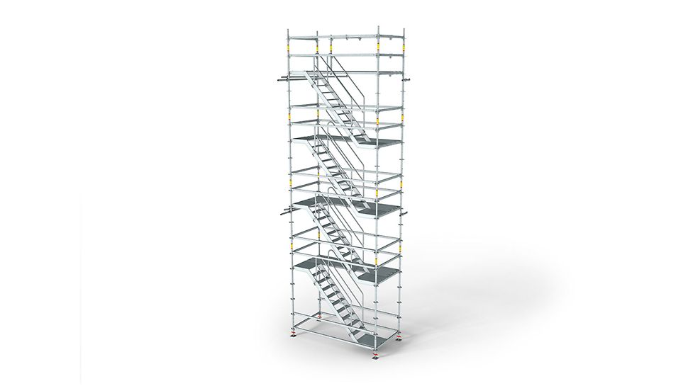 The lightweight stair tower for flexible access solutions PERI UP Flex Trapp75 Lett trappetår for fleksible adkomstløsninger PERI stillas reis dekke