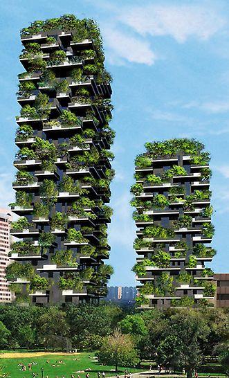 """Bosco Verticale: Obě 87 m a 119 m vysoké obytné budovy s masivními balkony jsou osazeny téměř 900 stromy a 4000 keři, tzv. """"vertikálním lesem"""" uprostřed Milána."""