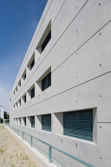 Galileo Satellite Control Centre, Oberpfaffenhofen, Germany - Extremely attractive facade design with neatly arranged joint and tie pattern along with distinctive window recesses featuring angled reveals and horizontal pilaster strips.