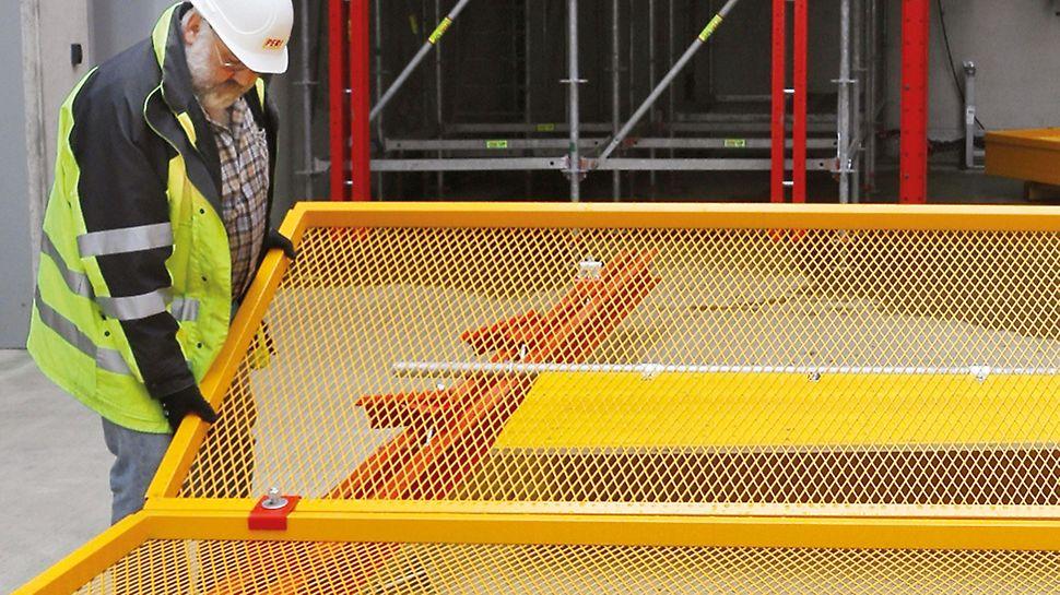 El montaje del cerramiento enrejado ligero no requiere grúa. Las rejas se pueden trasladar manualmente.
