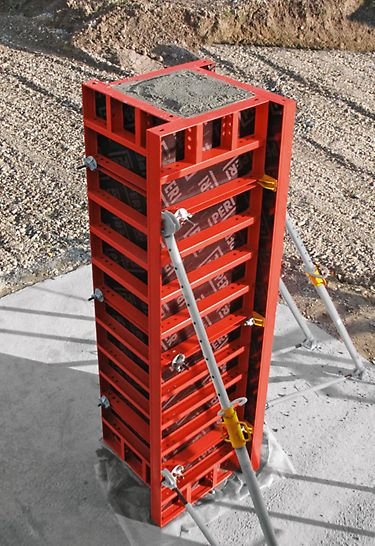 Pomoću LIWA višenamenskog elementa moguća je izrada oplate stubova u raster od 5-cm, od 15 cm x 15 cm do 50 x 55 cm.