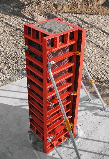 Com os painéis universais LIWA, podem ser cofrados pilares com 15 x 15 cm até 55 x 55 cm, em incrementos de 5 cm. Os pilares são ancorados com conetores de canto e DW 15 standard.