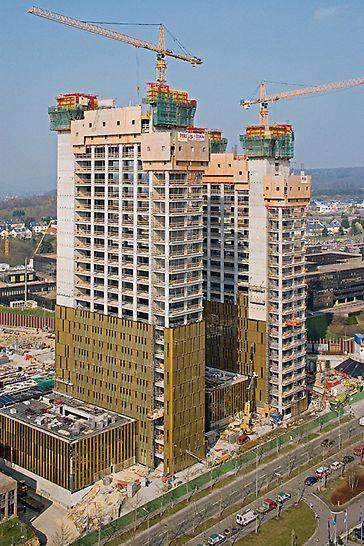 Budova Evropského tribunálu: Vzájemná součinnost samošplhavého bednění ACS a ochranné stěny RCS poskytla zaměstnancům naprostou bezpečnost při práci na stavbě.