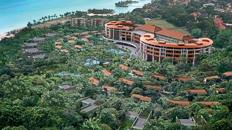 Hotel Capella: Luxusní hotel Capella na ostrově Sentosa má 110 velkoryse dimenzovaných pokojů a 60 exkluzivních apartmánů.