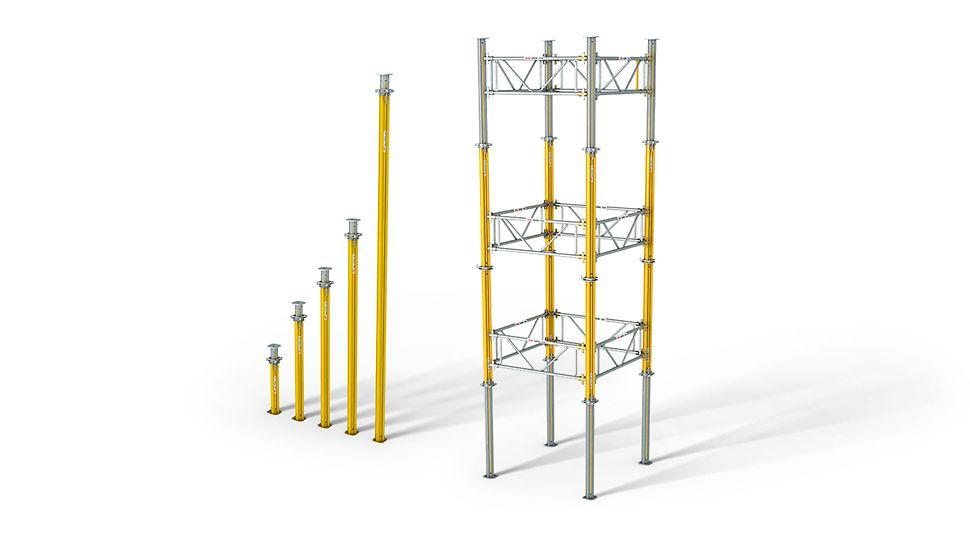 Stropní stojka MULTIPROP: úsporná jako samostatná stojka – hospodárná při použití v podpěrné věži.