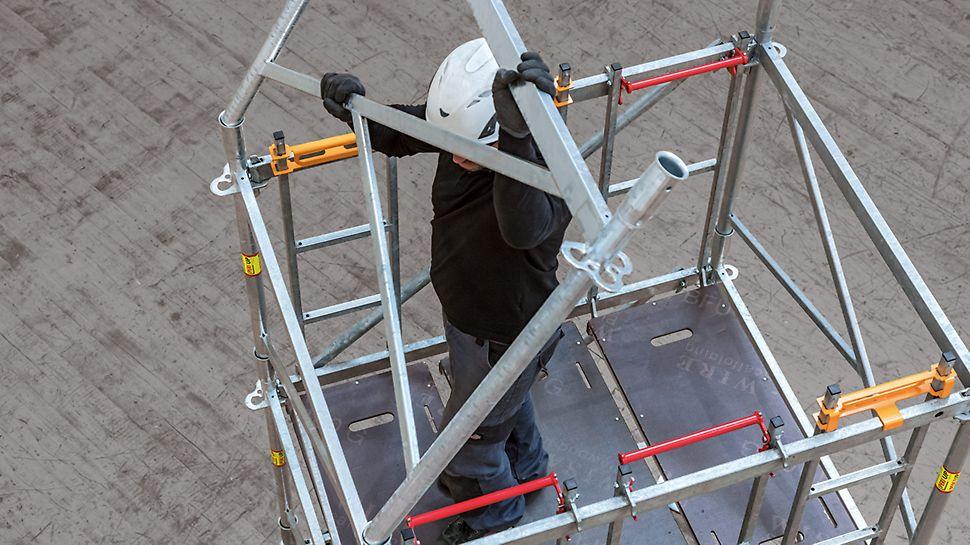 Moeiteloos werken dankzij de lichte onderdelen en ergonomische werkhouding (midden van het lichaam)