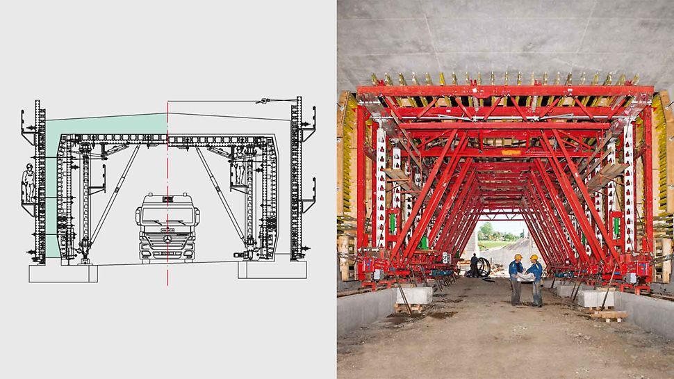 The planning for the tunnel formwork carriage took into consideration unobstructed site traffic: HD 200 Heavy-Duty Props and VARIOKIT Diagonal Struts transfer the loads into the existing strip foundations.