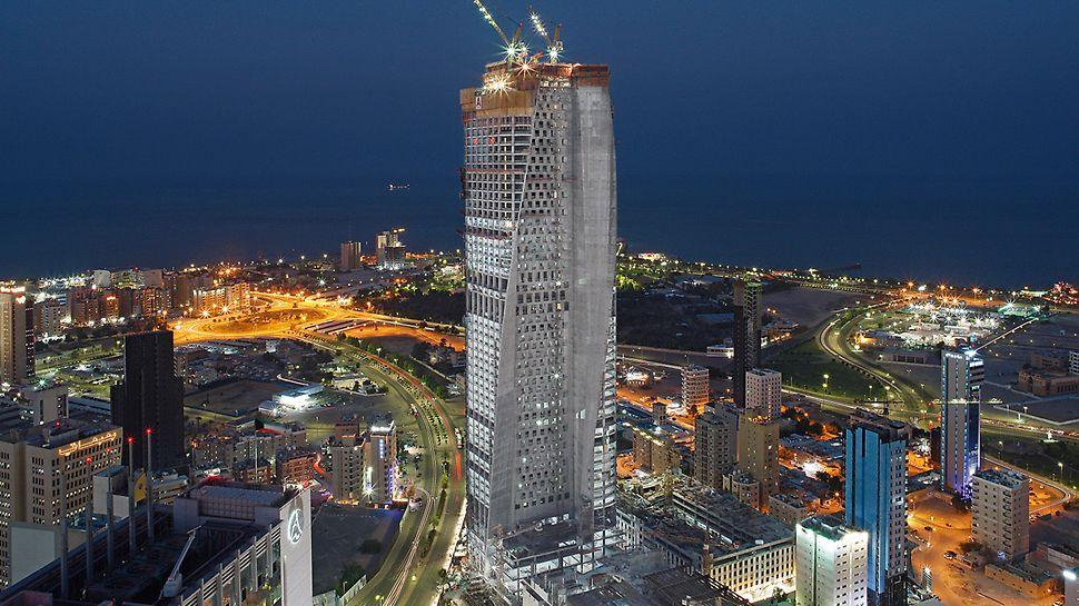 """Al Hamra Tower, Kuwait City: Již ve fázi výstavby okouzluje """"Al Hamra Tower"""" svojí nadčasovou elegancí, které je docíleno otočením vnější fasády o 130 stupňů."""
