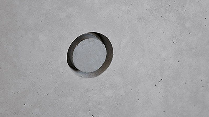 Kegel gebruikt voor fraai ontworpen zichtbetonnen oppervlakken