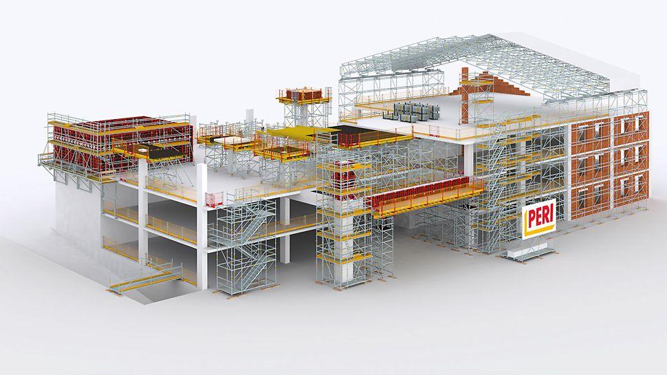 PERI UP dla budownictwa - zestaw rusztowań do wszechstronnego zastosowania na placu budowy.