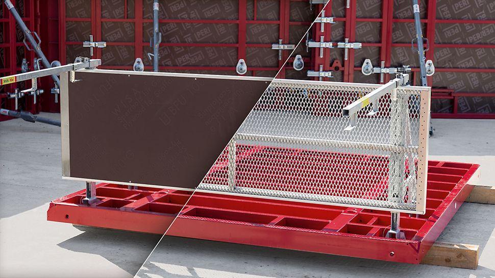 Modularer Aufbau: Das Konsolensystem MXK ermöglicht verschiedenste Kombinationen für die Ausführung der Bühnen. So lassen sich z. B. Systembeläge mit Holz- oder Stahlausführung einsetzen; optional können auch Holzbohlen auf den Konsolen befestigt werden. Diese Modularität bietet hohe Flexibilität zur Anpassung des Systems an den jeweiligen Baustellenbedarf.
