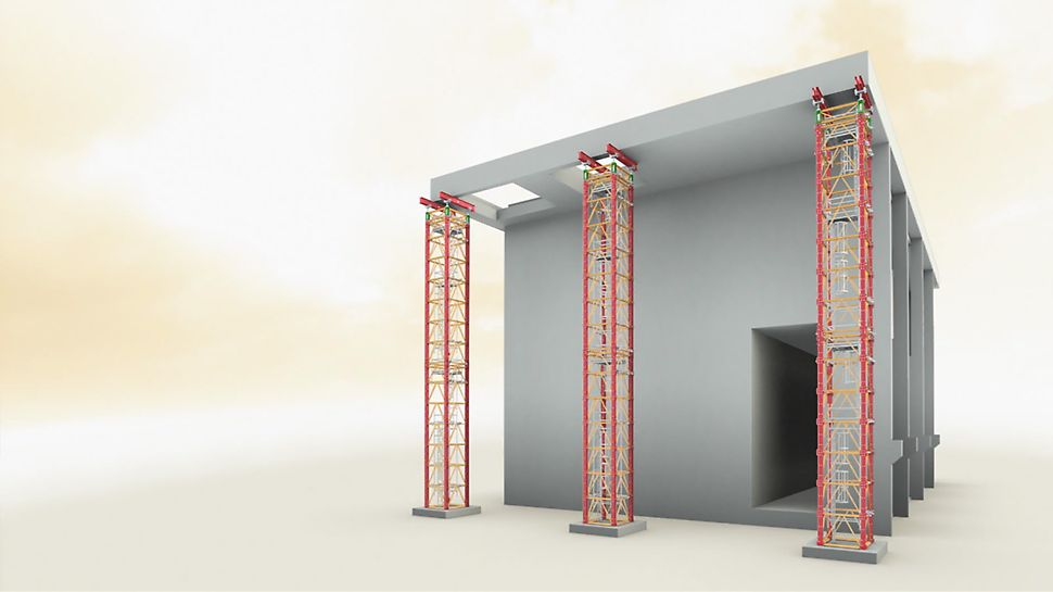 The shoring tower for civil engineering and industrial construction. Use of the hydraulic Head Spindle Unit.