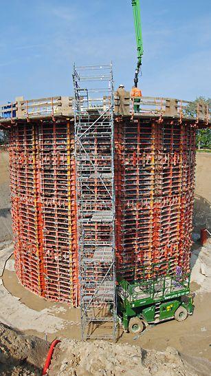 Muffehuse - Ydervæggene udføres som en mangekant med en indre diameter på ca. 13 meter.